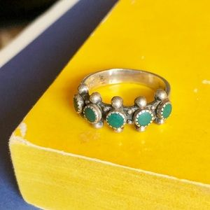 Vintage sterling silver petitpoint snake eyes ring